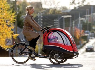 自転車の前後に子供乗せる ...