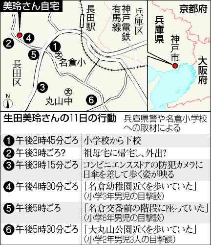 行方不明の神戸小1女児、160人態勢で捜索 リュック写真も公開