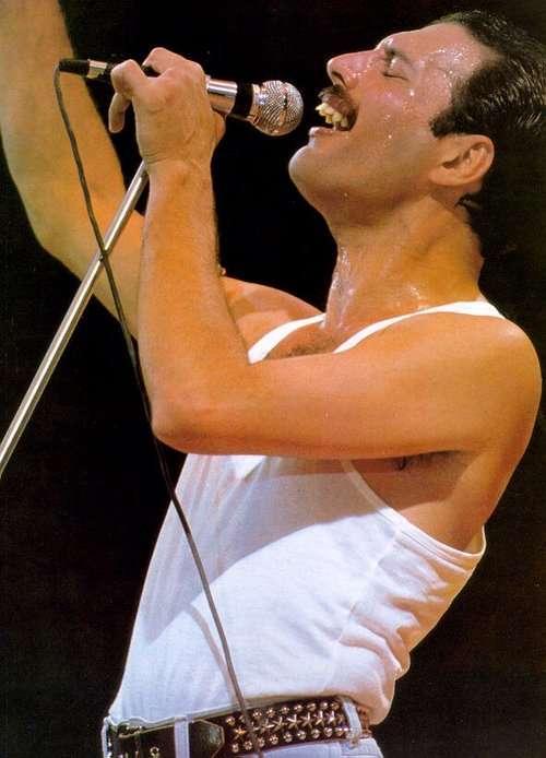 渾身の力を込めて歌う歌手