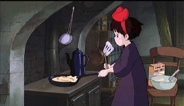 魔女の宅急便で料理をするキキ