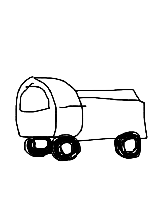 「トラックの絵かいて」と言われたらどんな絵かきますか?