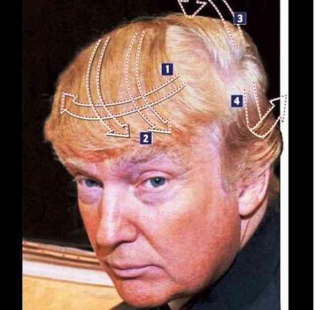 髪型を盛ってる画像