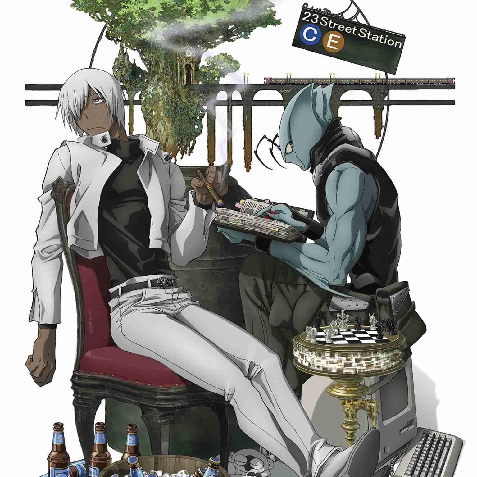 ビールやチェスに囲まれた血界戦線のイラスト
