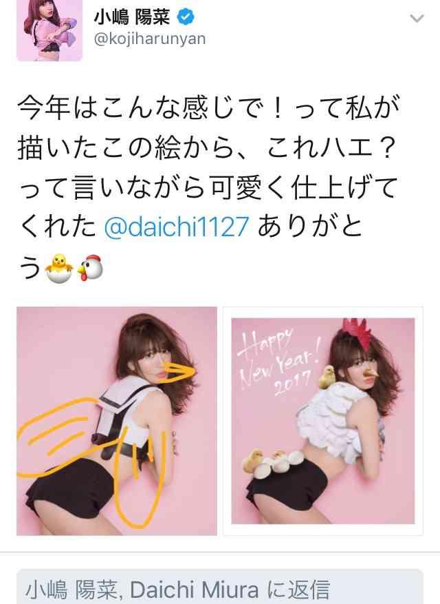 """小嶋陽菜、""""セクシーすぎるニワトリ""""になる 毎年恒例の大人な年賀状にファン歓喜"""