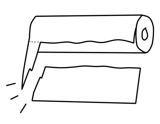 ペーパータオルの画期的な使い方 半分にカットして使い勝手アップ