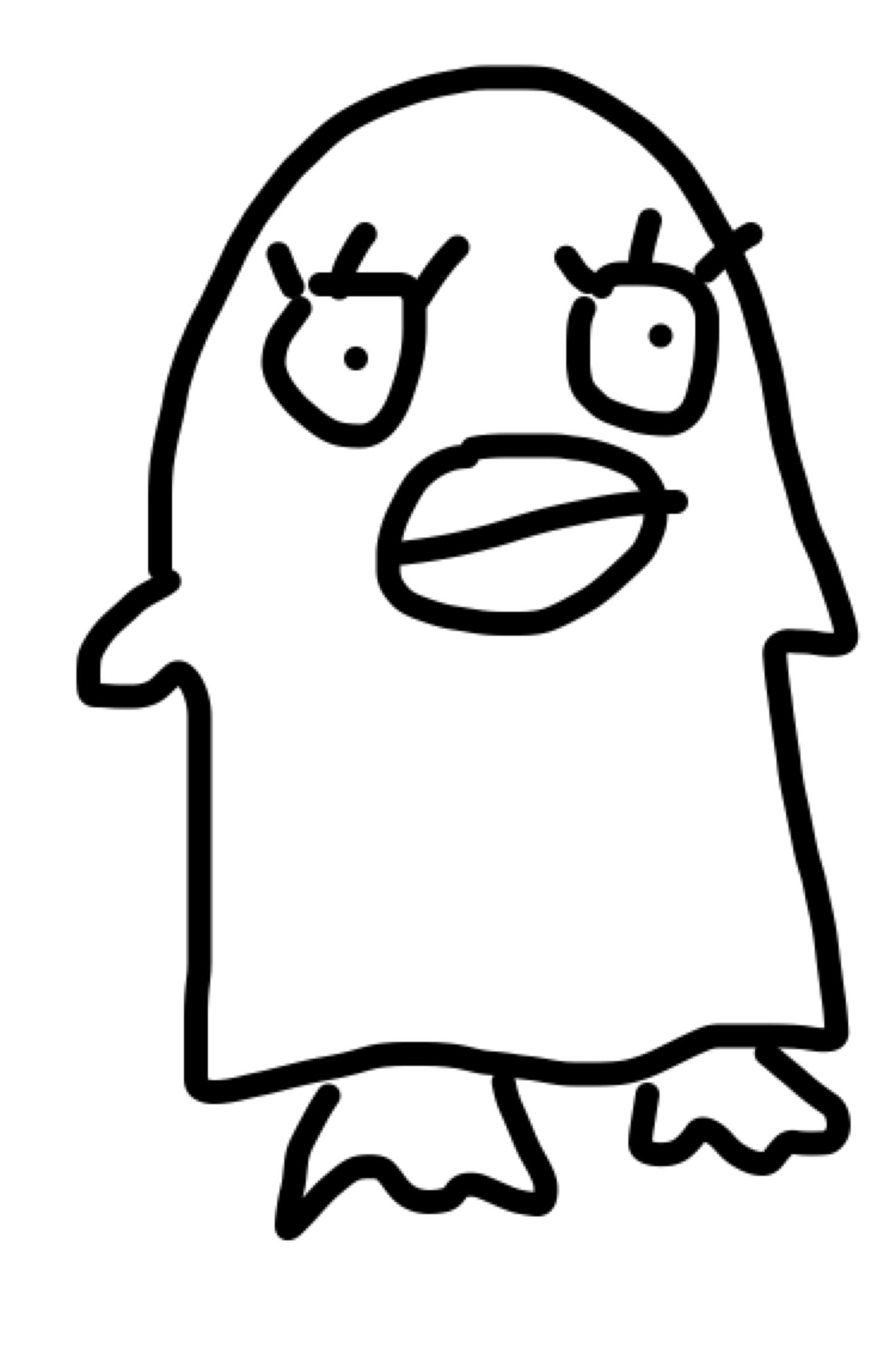 利き手じゃない方の手でキャラクターを描くとぴ