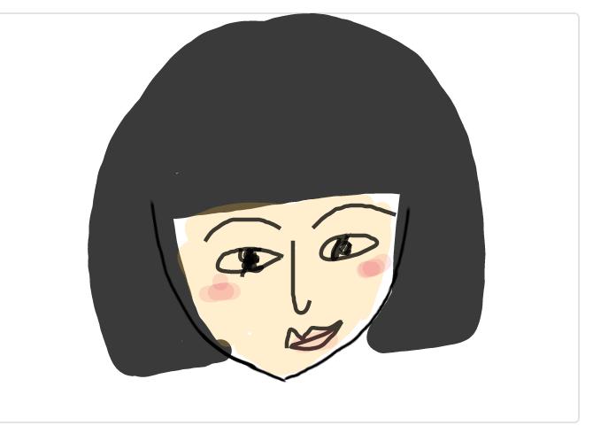 この顔の輪郭に描き足してください(お絵描き)
