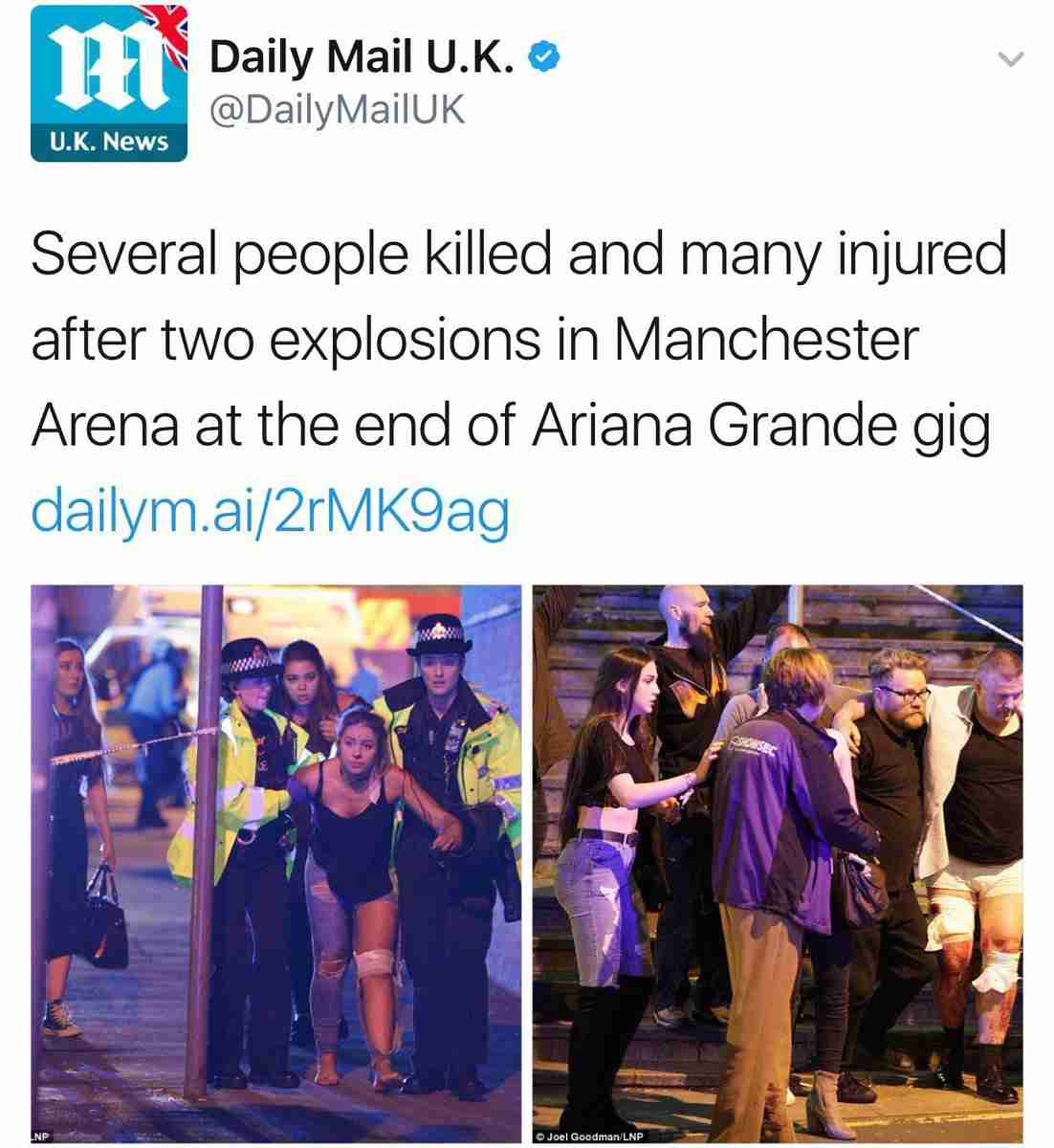 アリアナ・グランデのコンサートで爆発