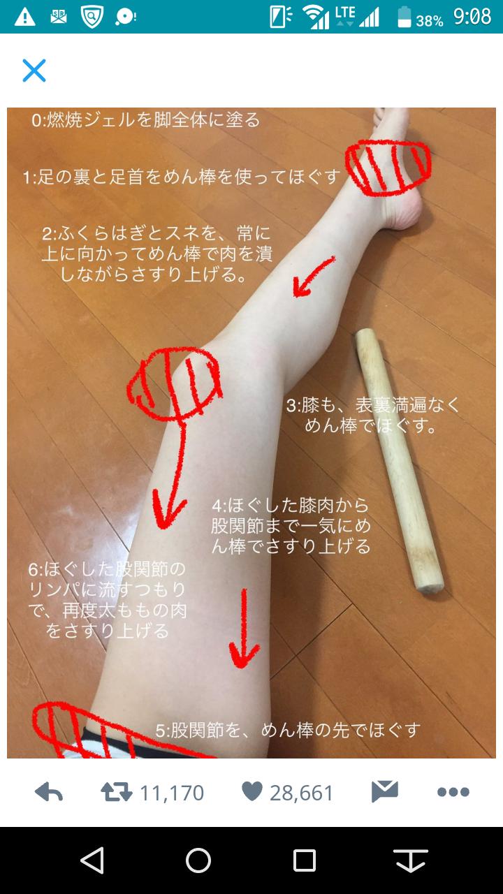 【足痩せ】麺棒マッサージ【効果】