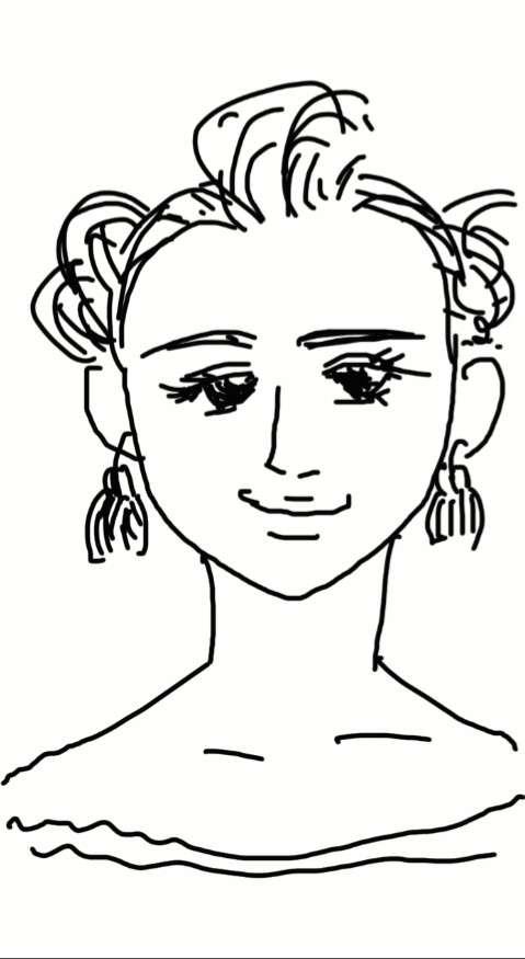 サザエさんをできるだけ美人に描いてみよう