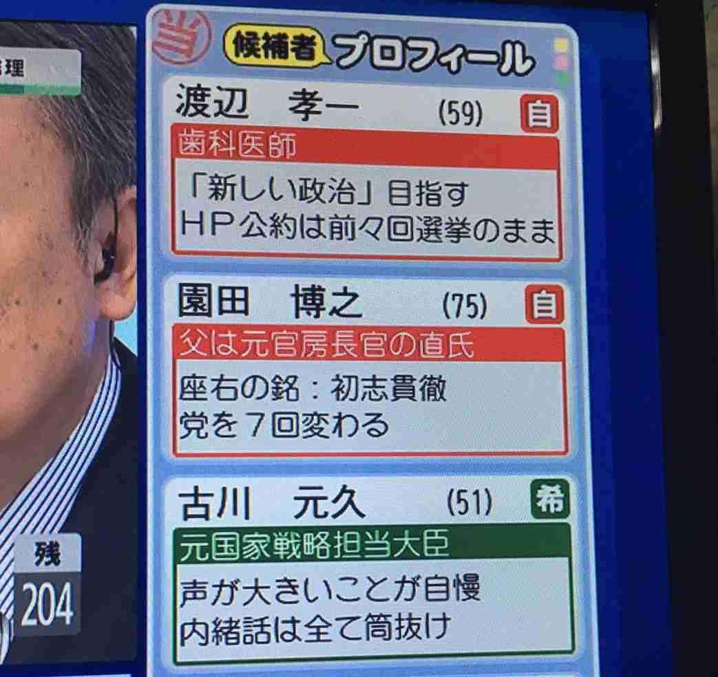 【衆院選2017】選挙特番で流れた議員のプチ情報を貼るトピ