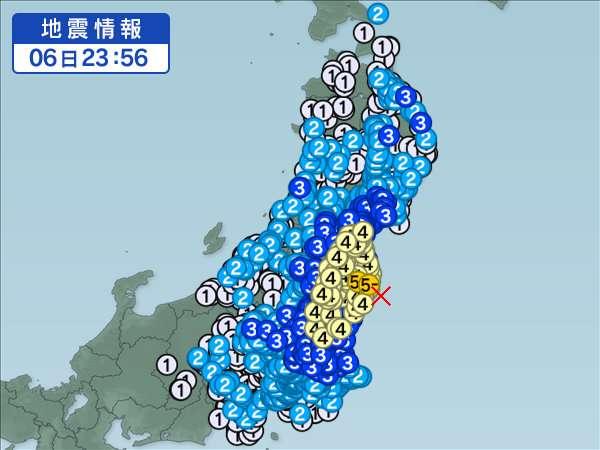 【地震】福島県浜通りで震度5弱