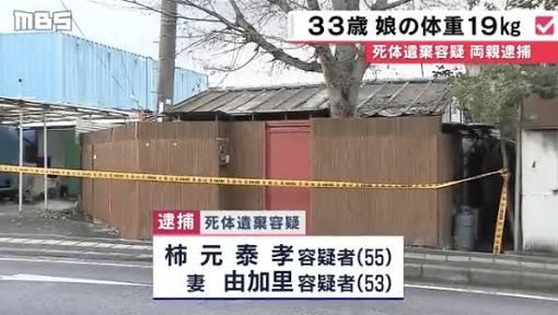 寝屋川33歳長女監禁死、最低気温氷点下でも服着せずに生活か