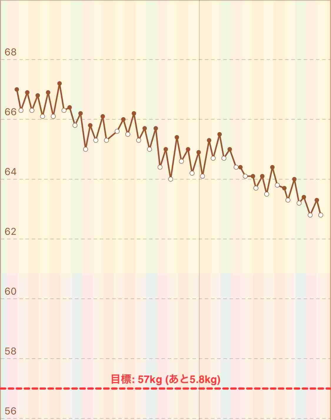 一年間の体重の変動