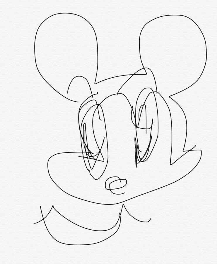 目を瞑ってミッキーを描くトピ