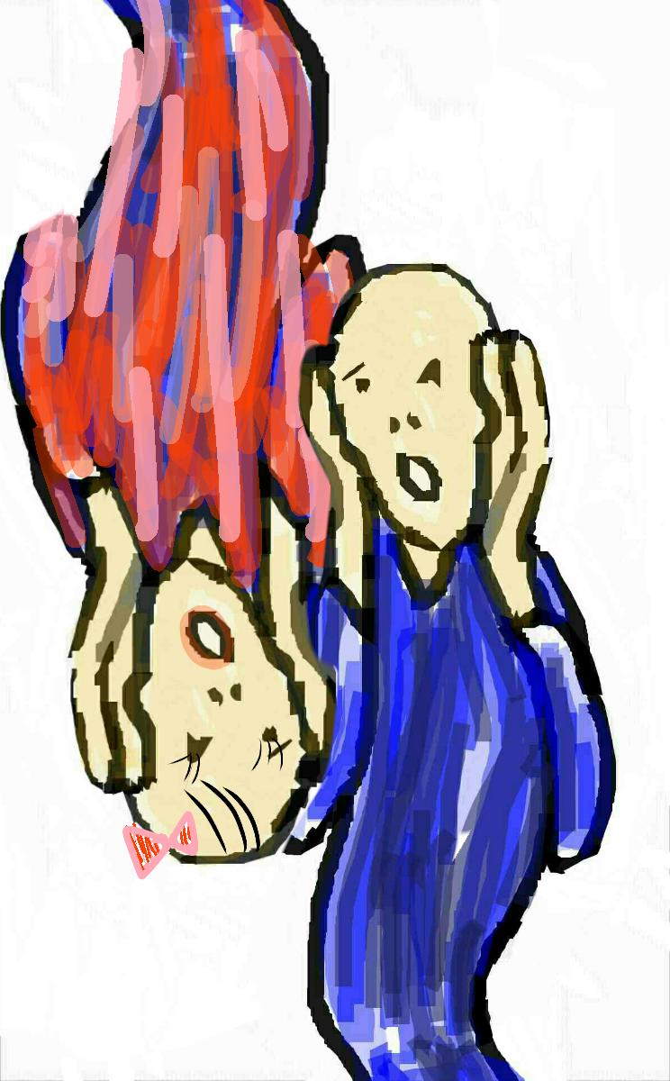 〔お絵描き〕ムンクくんの隣にどなたか寄り添ってあげてくれませんか