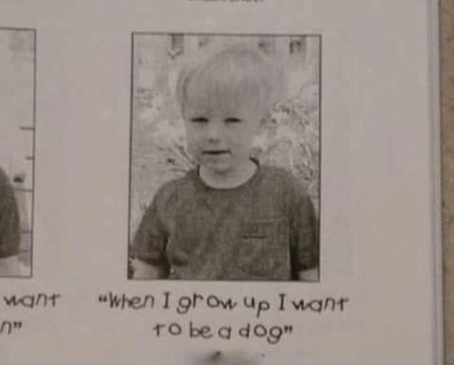 幼児に「大きくなったら何になりたい?」と聞いて下さい。