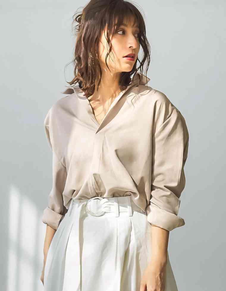 肩幅広い人のファッション
