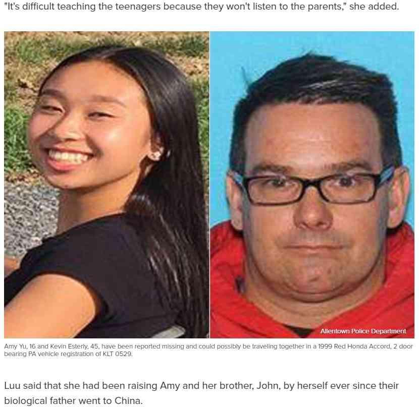 45歳の妻帯者の男、娘の友人である16歳少女と駆け落ち(米)