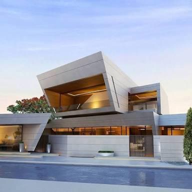 美しい近未来建築の家を貼るトピ