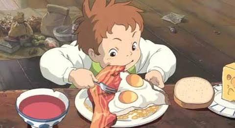 おいしそうに食べている可愛いキャラクター
