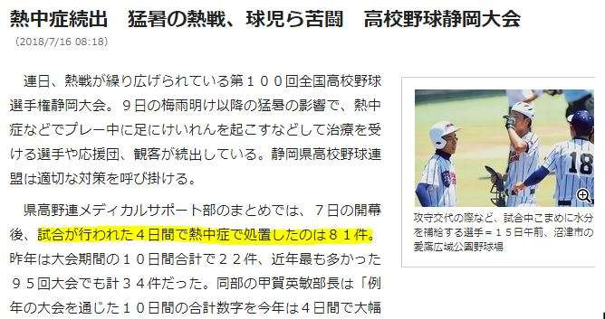 ネット上には疑問の声 猛暑もお構いなしに試合が行われる高校野球