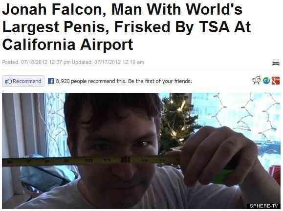 34cmの「世界最大のペニス」を持つ男性が空港で危険物所持の疑いで身体検査を受ける →彼のペニスだった | ロケットニュース24