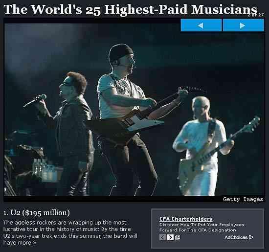 世界でもっとも稼いでいるミュージシャンTOP25 /1位はガガ様ではなく、あのバンド! | ロケットニュース24