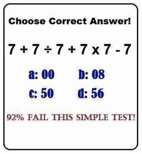 7+7÷7+7×7-7=? 92%もの人が間違える計算問題、あなたは解けますか?