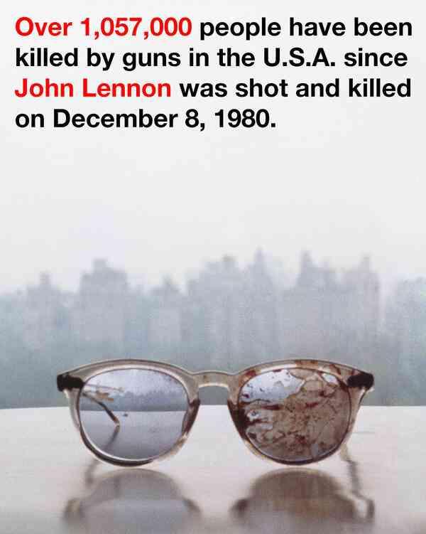 【血が苦手な人は閲覧注意】オノ・ヨーコがジョン・レノンさんの血まみれの眼鏡で銃規制訴え