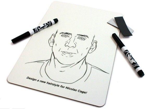 ニコラス・ケイジの髪の毛を自由自在に描けるホワイトボードが新発売!