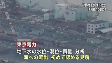 東電 汚染水の海への流出認める NHKニュース