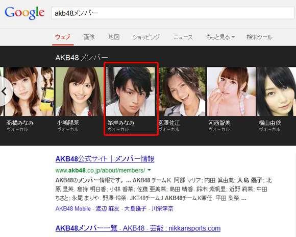 【不思議】Googleで「AKBメンバー」と検索するとなぜか峯岸みなみさんだけ男性の画像が表示される   ロケットニュース24