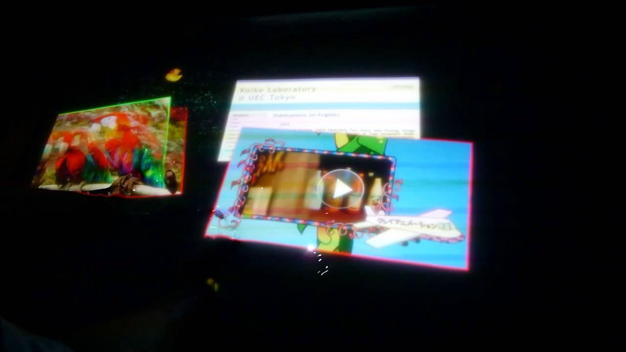 デジタルコンテンツEXPO 2013:水面をモニター&タッチパネルにしちゃう「AquaTop Display」 - YouTube