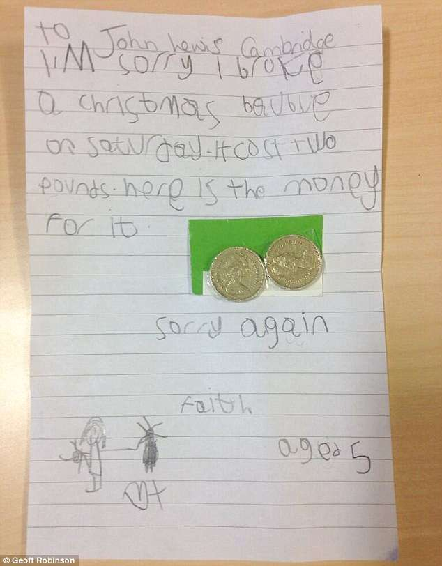 「Xmas飾りを壊してごめんなさい」 5歳少女の正直な手紙に全英が感動
