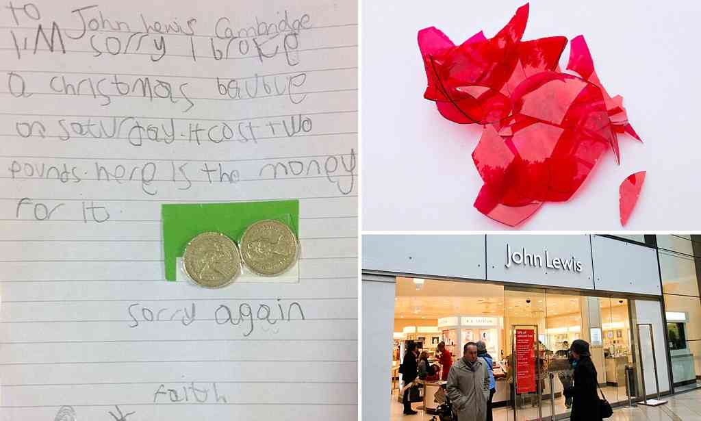 Girl sends letter to John Lewis for breaking Christmas decoration  | Mail Online
