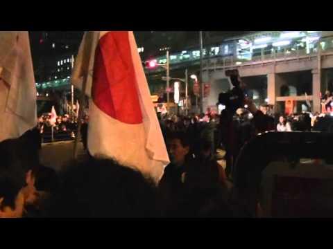 秋葉原安倍総裁街頭演説会終了直後、マスコミに凄まじい「ゴミ」コール - YouTube