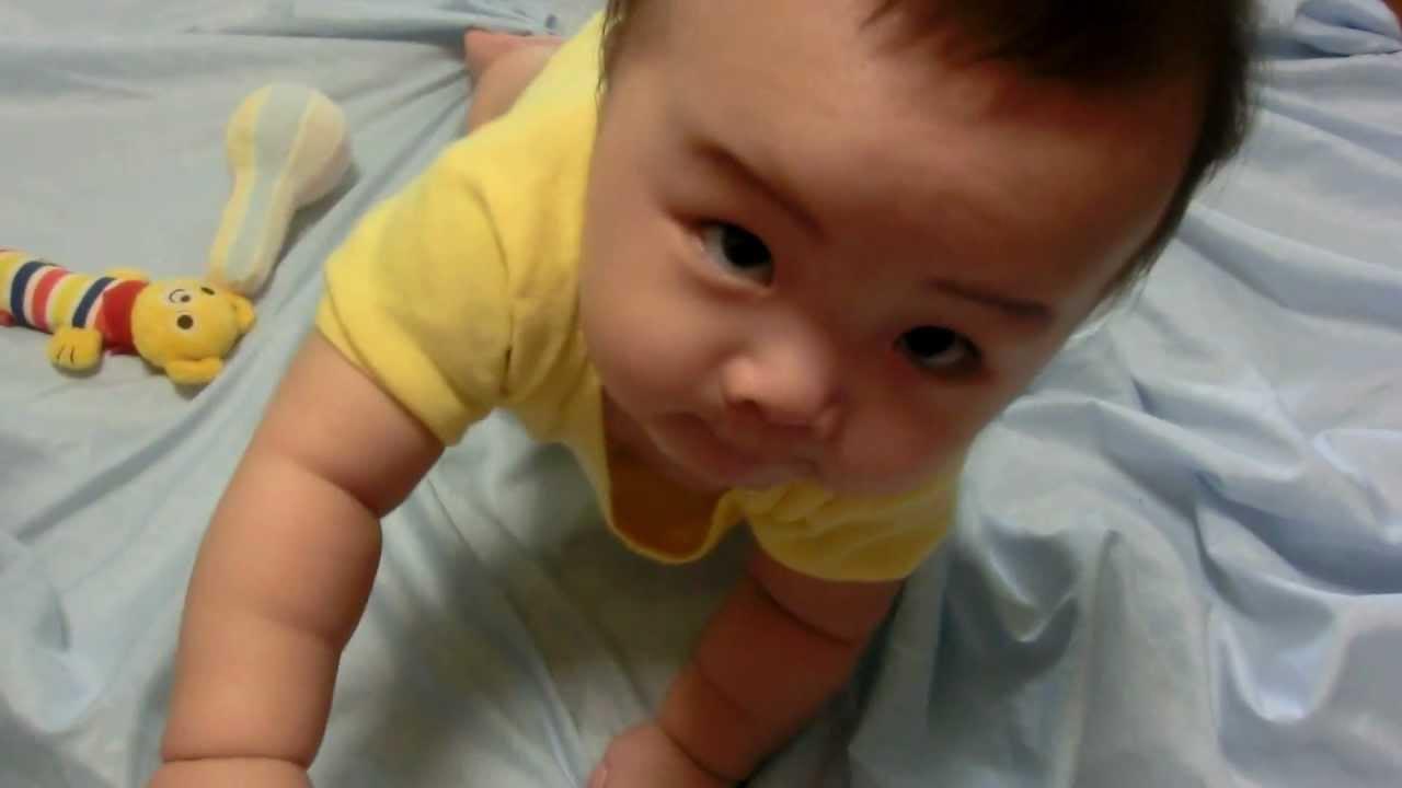 【生後8ヶ月】ハイハイ練習中。そして2日後に驚くほど上達!(1) - YouTube