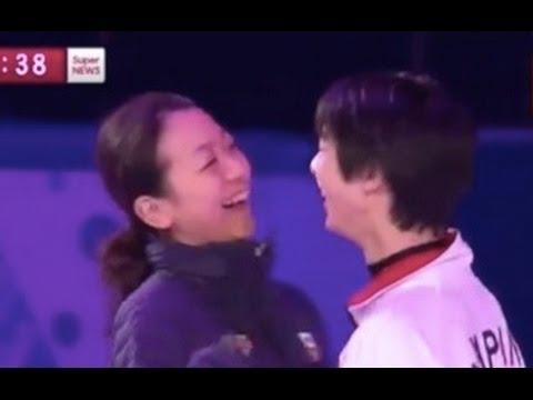 【ソチ】フィギュア エキシビション練習風景 浅田真央と羽生くん! - YouTube