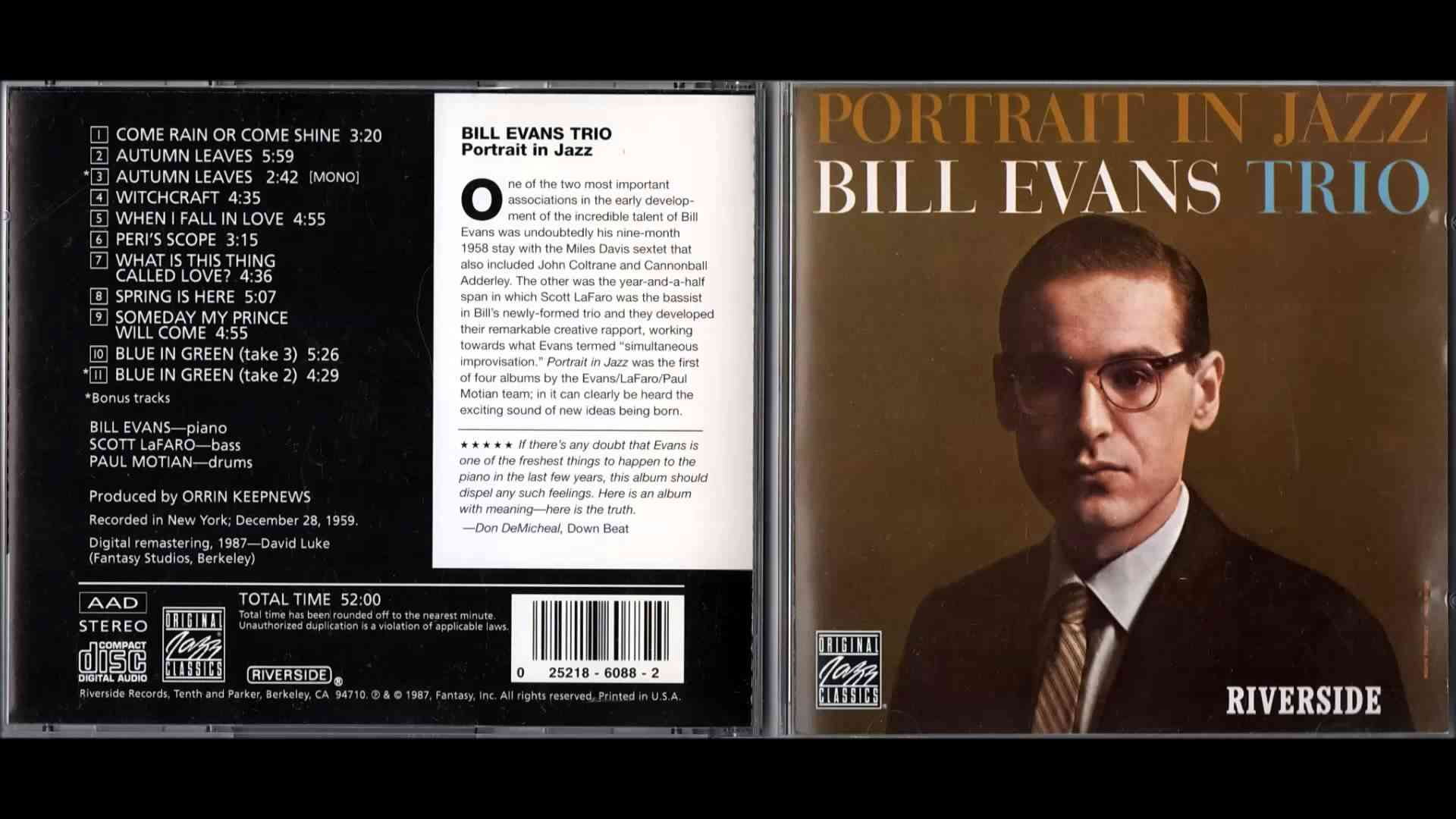 Portrait In Jazz - Bill Evans Trio - YouTube