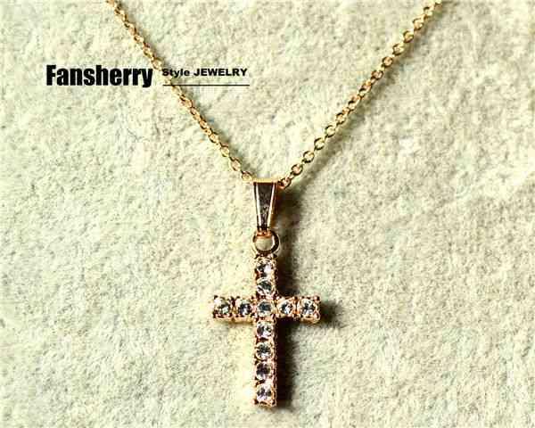 18K Rose Gold GP Swarovski Crystal Necklace Pendant Cross Party Gift NE043 | eBay