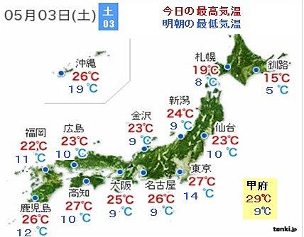 全国的に今日(5月3日)が暑さのピーク、30度近くまで昇温…今年初の真夏日に?
