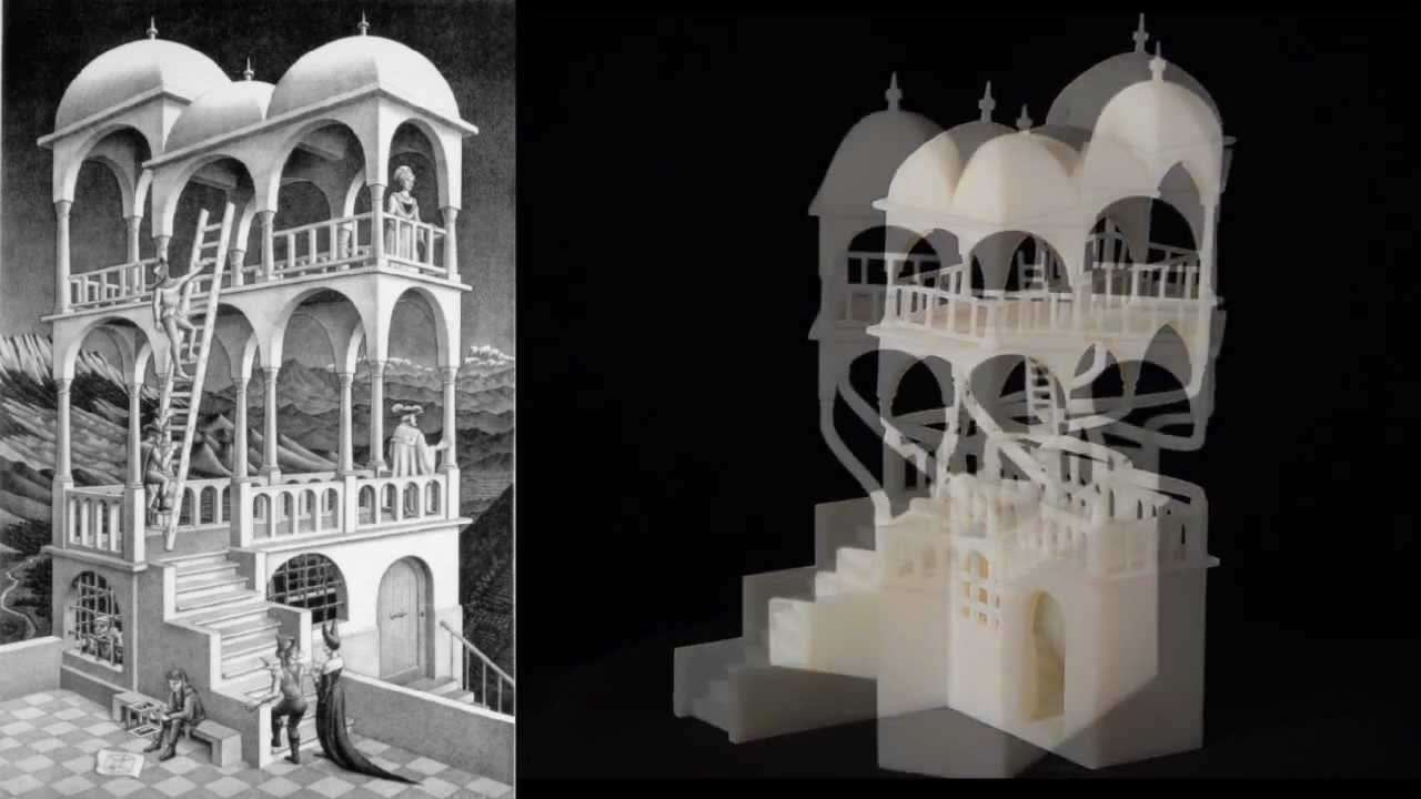 Escher for Real The Belvedere, Waterfall, Necker Cube, Penrose Triangle 3D Printing from Technion - YouTube