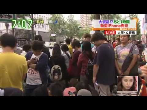 iPhone6 大阪心斎橋の行列に 中国人団体が割り込み 銀座でも - YouTube