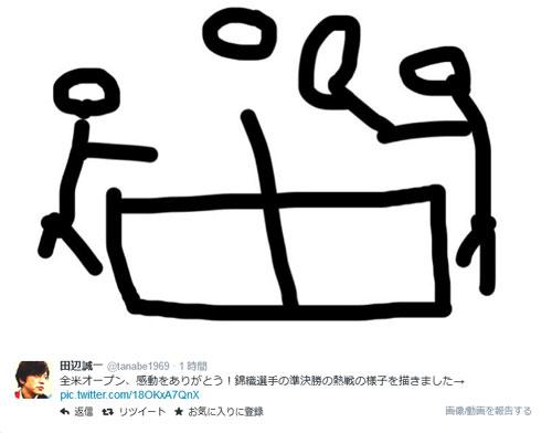 田辺誠一イラストで錦織熱戦たたえた - 芸能ニュース : nikkansports.com