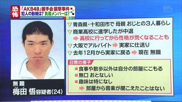 AKB48握手会ノコギリ襲撃犯を傷害罪で男を起訴…殺人未遂は適用せず