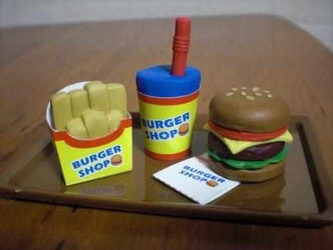 Burger shaped eraser making kit - YouTube