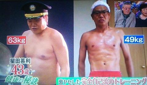 星田英利(ほっしゃん。)、体重は14キロ減、自己流トレーニングで筋肉バキバキにw