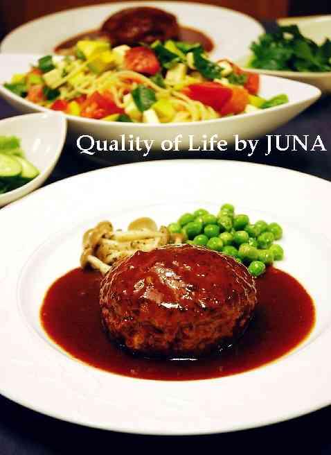 Quality of Life by JUNA|ツルピカふわふわハンバーグと自家製バジルで冷製パスタ