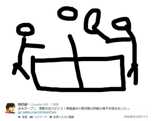 田辺誠一、イラストで錦織圭の熱戦をたたえた